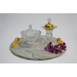 3-piece marble tray set
